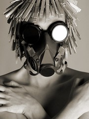 (reidcrosby) Tags: mask goggles clothespins portrait bw