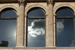 underneath your weather (emmerrrrrrr) Tags: reflection clouds silver lining sky dark opera building lyon operadelyon