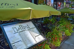 Sidewalk Cafe (AntyDiluvian) Tags: boston massachusetts backbay street newburystreet cafe restaurant piattini umbrella menu sidewalk
