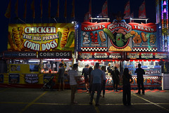 food, food, glorious CNE food (mcfcrandall) Tags: pickles deepfried oreos food cne canadiannationalexhibition people selling midway toronto corndogs eating buying greenbeans neon led picklepetes chicken bacon