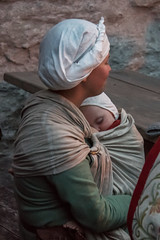 Medieval mother and child (stenaake) Tags: medieval child visby gotland medievalweek dressed dressedup tradition sweden island family evening dark sleep sleeping baby warm happy satisfied swedish