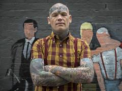 Björn - Swedish skinhead / tattoo artist at Margate. (Stoneybutter) Tags: björn kent margate portrait skinhead björnstam thanet tattoo tattoos sweden