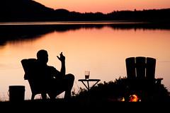 Summer Lake Fire Silhouette (matthewkaz) Tags: limelake lake water sunset reflection reflections silhouette fire campfire chris chair maplecity cedar michigan cigar drink glass 2016