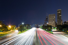 Lake Shore Drive. (Rares M. Dutu) Tags: lakeshoredrive lake shore lakeshore drive city longexposure beautiful gorgeous chicago cityofcity chicagocanoncanon 6d24105long exposuresshootphotoshootphotographyphotographlight trailslight trail lighttrail night cityscape johnhancock johnhancockatnight beauty wide cars lights highway