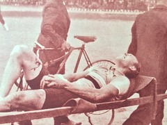 Andr Leducq (1904 - 1980)  carried off of the track at the 1935 World Championships in Brussels Belgium (ddsiple) Tags: andrleducq cycling 1935 heyselstadium brussels crash worldchampionship track