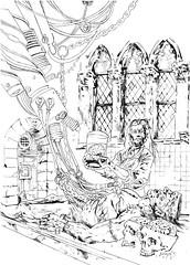 ART-116-frankenstein's-lab-b&w (whisperstudio) Tags: eddiewilson brokentoys eddiewilsonart eddiewilsonartist eddiewilsonpresents whisperstudio scifiart steampunkart steampunk steampunkconceptart sketches scienceadventures fantasyart fantasyartsketches darkart doclazarus drlazarus doctorlazarus blackandwhiteart comicart conceptart c