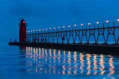 Michigan Nights (The New No. 2) Tags: johncrouch copyright2016johncrouch johncrouchphotography 2016 august beach clouds dusk evening lake lakemichigan lighthouse pier sky summer sunset water southhaven michigan unitedstates us