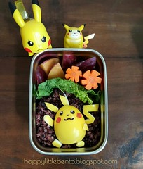 Pikachu Bento! (sherimiya ) Tags: pikachu pokemon sherimiya bento happylittlebento kidslunch packedlunch homelunch homemade egg turmeric cute kawaii charaben yummy delicious face nori blackrice rice lettuce carrots plum schoollunch lunchbots lunchbotsclicks obento lunchforkids healthy food lunch japanese character