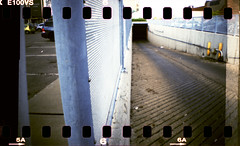 mall hole (Beaulawrence) Tags: summer toronto ontario canada color colour film analog lomo xpro lomography cross hole kodak parking grain lot shift slide august driveway to ektachrome processed parkdale ont 2012 sprockets on 100vs