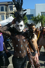 Skull and Lace (naturalturn) Tags: sanfrancisco california usa man facepainting costume lace painted folsom feather facepaint sequins folsomstreetfair 2012 sheer feathered folsomstreet paintedface image:rating=4 folsomstreetfair2012 folsomstreet2012 image:id=137123