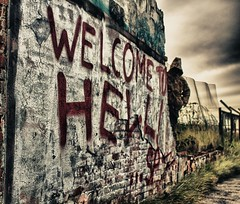 Welcome To Hull (tigerneil) Tags: red urban abandoned sign canon eos scary paint tag yorkshire hell spray creepy tagged east explore software nik welcome hull exploration derelict hdr lightroom urbex vandalised niksoftware hdreffex