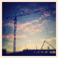 parallel world (3) (denisperekhrest) Tags: city sky reflection water clouds crane belarus minsk iphoneography instagram