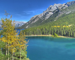 Lake Minnewanka (njchow82) Tags: nature scenic hdr banffnationalpark lakeminnewanka canadianrockies tonemapping photomatrix canonpowershotsx30is nanacychow