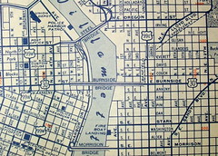 Portland OR 1952 (davecito) Tags: blue oregon portland typography map text 1950s transportation cartography pacificnorthwest geography cascadia drafting streetmap citymap oldmap randmcnally us99 largestcities