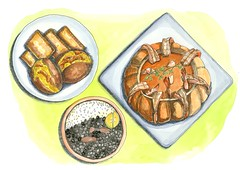 Brazilian Foods (kana hata) Tags: brazil food art dinner pen ink watercolor painting lunch sketch artist drawing brazilian feijoada acaraje camaronamoranga pasteldefiera