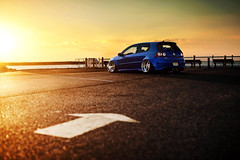 Frankie Mule // LBI (Ronaldo.S) Tags: sunset vw 50mm nikon f14 sigma lbi r32 sunflare widebody mkv mk5 d700