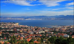 Vigo, Spain (Una S) Tags: ocean city sea sky mountains clouds river bay spain europe view hill atlantic hills vigo