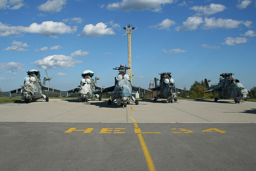 Stored Mi-24V Hinds at Namest Air Base