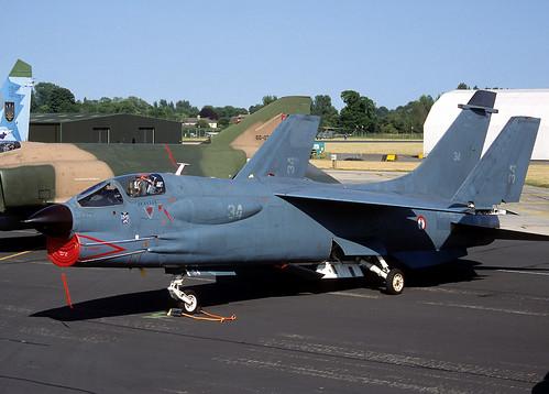 34 F-8P Crusader (Irish251) Tags: uk england french marine military navy 1999 airshow f8 crusader fairford riat vought f8p aeronavale egva