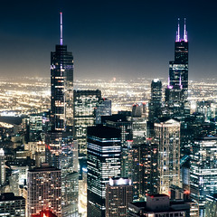 The Windy City (christian.senger) Tags: city travel light urban usa chicago black film skyline architecture night rollei analog rolleiflex america skyscraper geotagged outdoors grey illinois neon fuji purple gray explore sl66 provia antenna lightroom vuescan colorperfect dopplr:explore=x181 foursquare:venue=4b82d646f964a5202ae830e3 christian_senger:year=2012