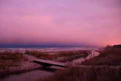 Lake Michigan, Dusk, Evening After Sandy Hit the East Coast (moonlightbaker) Tags: pink cold wisconsin windy lakemichigan roughwaves dayaftersandyhiteastcoast