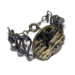 Steampunk Bracelet - Watch Movement - Labradorite (Catherinette Rings Steampunk) Tags: art fashion metal movement wire handmade watch craft jewelry bracelet etsy clockwork brass mechanism artisan steampunk clockpunk