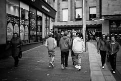 Boiz (Explored) (stephen cosh) Tags: life street city people blackandwhite bw sepia mono scotland town glasgow candid streetphotography rangefinder ayr reallife humancondition blackandwhitephotos 50mmsummilux blackwhitephotos leicam9 stephencosh leicammonochrom leicamm