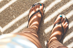 Glowing Stripes (GummyPiglet) Tags: sunlight feet stripes flipflops glowing nailpolish slippers odc1 ourdailychallenge melissadionne