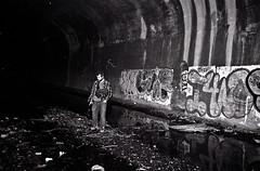 (walter.yetman) Tags: new york city nyc newyorkcity blackandwhite white black film graffiti kodak exploring tunnel olympus stylus olympusstylus