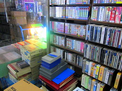 "Seoul Korea super-rare vintage cassette and audiotape store with CDs reel-to-reel tapes, plus Beta and U-Matic cassettes - ""Old-school Rules!"" (moreska) Tags: lighting vintage wow store video asia neon market korea beta oldschool retro independent electronics seoul indie shops cds stores 1980s cassette carts rare rok hiss flutter seun betasp alleyways magnetictape betamax t120 audiotapes cassettetapes t30 t60 compactcassette umatic 34inch walkmanera videcassettes"