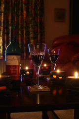 Day 363 - Wine by candlelight (Ben936) Tags: glass comfortable table bottle chair warm candle wine happiness livingroom celebration flame curtains candlelight wineglass winebottle drapes mellow