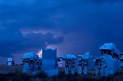 Carhenge in Alliance, Nebraska (JC Richardson) Tags: blue cars monument nikon automobile nebraska stonehenge lightning carhenge nationalgeographic greatplains jimrichardson