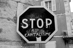 Stop The Capitalism (R.Brown-Photography) Tags: stop au capitalisme la rochelle france bw street signs black white blackwhite