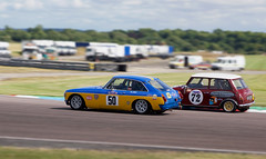 Fight for the apex (Dancinggecko) Tags: classiccar racing track thruxton race swinging60s racecar cscc sportscar adamspage mg mgbgt austinmini