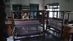 The Workshop (www.WeAreHum.org) Tags: textile nepal thread bobbins gandhi tulsi ashram school for women kathmandu sowing weaving winds threads mechanical loom wood shuttles feet arts