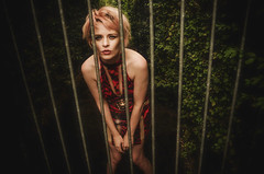You have a visitor (sophie_merlo) Tags: model models girl woman sexy blonde bars cage prison lines surreal fantasy surrealist life psychological thought freedom humanity prisoner consciousness zoo humanzoo visitor visiting people