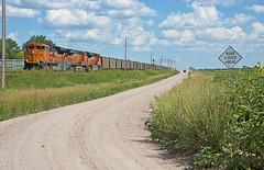 BNSF 8451 west bound coal load-McGraw, Nebraska. (Wheatking2011) Tags: bnsf 8451 west empty coal train moving slowly meet an east bound load mcgraw nebraska