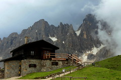 Baita Segantini and Pala group (annalisabianchetti) Tags: mountains montagne dolomites dolomiti alps italy paesaggio landscapes clouds baita