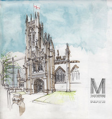 Manchester Cathedral (Namtra) Tags: uskmanchester2016 arnohartmann manchester kathedrale cathedral england greatbritain symposium urbansketcherssymposium pencildrawing pencilsketch watercolour watercolor aquarell bleistift bleistiftzeichnung