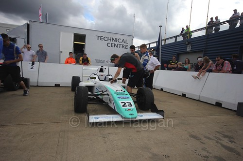Billy Monger in the British F4 assembly area at Rockingham, August 2016