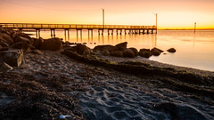 Crescent Beach Sunset (Sworldguy) Tags: crescentbeach sunset whiterock britishcolumbia canada beach landscape pier seascape seaside shore dusk lowermainland surrey pacificnorthwest tourism blackiespit september orange silhouette coast water sand seaweed nikon d7000 dslr boundarybay seashells seagulls