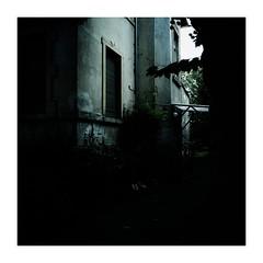 suburbia (seba0815) Tags: ricohgrdiv color bleachbypass square building suburbia urban house old light shadow contrast black dark darkphotography streetphotography entrance mood seba0815 walk passingby