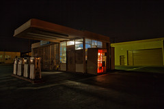 Late last night about a quarter past four (Maureen Bond) Tags: night nocturne gas pumps station garage cocacola red lights blue glass locked shadows ca maureenbond vintage