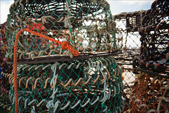 apollo-bay-4626-ps-w (pw-pix) Tags: crayfishing crayfishpots craypots seewhatimeanmartyr67 stacked piled stored jetty pier mesh colours rope net steel hoops rust rusty knots splice light sky clouds water harbour sea ocean bassstrait southernocean coast coastal apollobay southwestcoast westcoast victoria australia