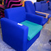 Blue and Green fabric reception chair