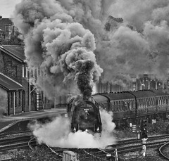 Derby Station 24th September 2016 (loose_grip_99) Tags: derby derbyshire england uk lms stanier princes coronation 462 pacific 46233 duchess duchessofsutherland semi blackwhite noiretblanc steam smoke train engine locomotive station gassteam uksteam trains railways preservation transportation yorkshirecoronation main line special september 2016