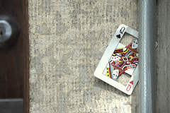strange queen (Justin van Damme) Tags: strange queen heart spade club diamond cut playing card found object garbage wall concrete door