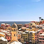 Vibrant hues of Vernazza above the Mediterranean Sea