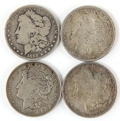 1018. (4) Circulated Morgan Silver Dollars