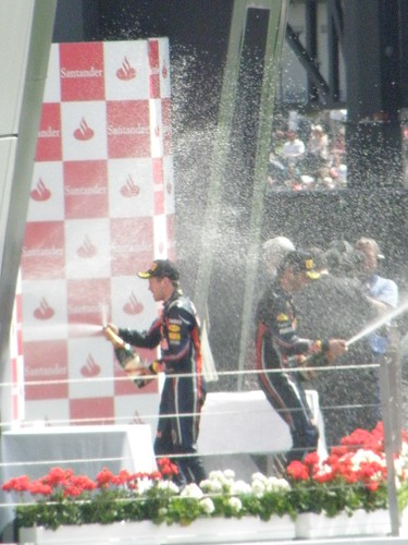 The podium celebrations after the 2011 British Grand Prix